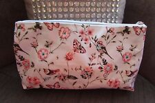 Pale Blue/pink Butterfly & Bird floral Cosmetic Bag new with tags