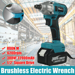 800N.M Cordless Electric Impact Wrench 1/2'' With LED Light Brushless Driver
