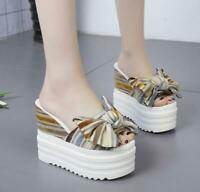 Women Platform High Wedge Heel Slippers Bowknot Peep Toe Sandals SHoes Summer sz