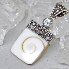 Shiva eye Schmuckanhänger Shivas Auge Schutzamulett 925 Sterlingsilber Topaz bl