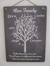 Handmade Wall Plaque Gift Chalkboard Effect Family Tree Personalised Grandparent
