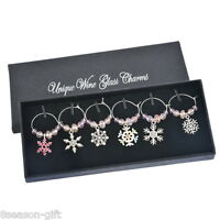 1Box Mixed Christmas Snowflake Glass Wine Charms Mark Ring Table Decorations