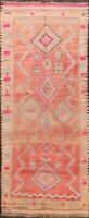 Antique Authentic Moroccan Vegetable Dye Oriental Runner Rug Hand-knotted 5'x12'