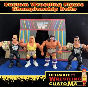 WWF Retro Custom Wrestling Belt Set x 4 for Hasbro/Mattel/Jakks Figures