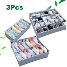 3pcs Foldable Underwear Drawer Bra Socks Charcoal Wardrobe Organizer Storage US
