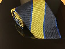 Men's Fendi Roma Cravatte Gold & Blue Large Diagonal Striped 100% Silk Tie