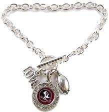 Florida State Seminoles Multi Charm Love Football Silver Bracelet Jewelry FSU