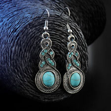 UK: Vintage Turquoise Drop Cabochon Stone Dangle Eclectic Silver Hook Earrings