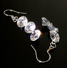 925 Sterling Silver 3 Tier Dangle Drop Earrings made w/ 6.0 ct Swarovski Crystal