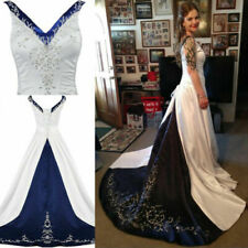 Plus Gothic Wedding Dresses Ball Romantic Embroidery Formal Bridal Gowns V-Neck