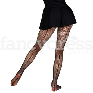 Ladies Black Seamed Fishnet Tights with Diamanté Latin Xmas Party Dance NEW