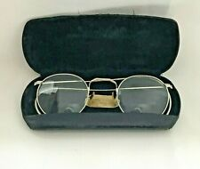 Vtg 1940's Bausch & Lomb Eye Glasses Orthogon Wide Lens Silver Frames W/ Case