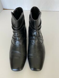 "Black Leather Ankle Boots 8.5 1"" Heel EARTH Brand"