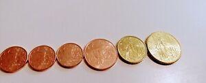 Lot 6 pieces France 1 cent, 5 cents, 10 cents & 50 centimes France 2020 2021