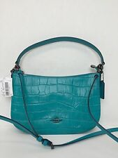 NWT Coach Embossed Chelsea Croc Leather Crossbody Turquoise 37733 $275