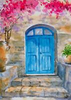 """Home"" ORIGINAL signed watercolor painting Europe travel Greece old town"