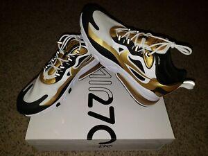Nike Men's Air Max 270 React White Black Metallic Gold CW7298-100 Running Shoes