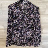 Express Portofino Blouse Women's Size Small Black Blue Pink Floral Long Sleeve