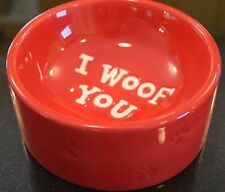 Valentines Day NEW Red & White I WOOF YOU Dog Food Water Dish Bowl 7""