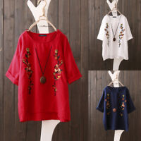 ZANZEA UK Womens Summer Short Sleeve Tops Ladies Loose Embroidery Shirts Blouse
