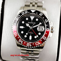 40mm PARNIS black dial Pepsi Cola bezel Sapphire glass GMT automatic mens watch