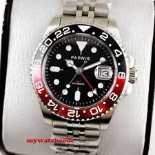 40mm PARNIS black dial Pepsi Cola bezel Sapphire glass GMT automatic mens watch