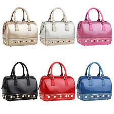 Damen Tasche Glitzer Lack Nieten Leder-Optik Handtaschen Reißverschluss 834162