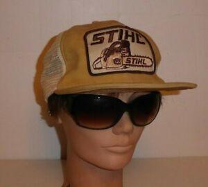vtg STIHL trucker cap medium HAT chainsaw 1980's brown suede leather worn damage