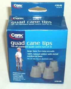 CAREX Quad Cane Tips Fis All Standard Quad Canes (set of 4) New In Box