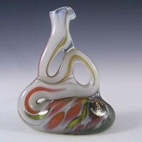 Mtarfa Maltese Organic White & Orange Glass Vase - Signed