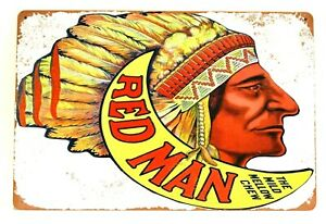 Red Man Chewing Tobacco Tin Poster Sign Vintage Look Bar Man Cave Cigarettes