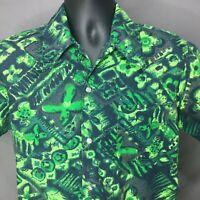Mens Vintage Hawaiian Tapa Print Shirt Size M Cotton Green Designed Styled CA