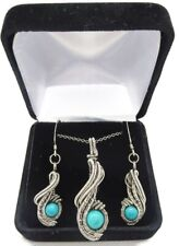 """Turquoise Necklace & Earrings Set, Wire-Wrapped in Sterling Silver, """"Comet"""""""