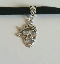 Black Choker pirate skeleton skull gothic costume jewellery