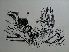 """""""Le Conquet """" Dessin original, Pierre Péron(1905-1988) Peintre officiel marine"""