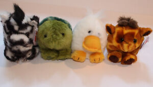 """Vintage Puffkins Plush Lot Of 4 Frog Giraffe Duck Zebra Turtle With Tags 4"""""""