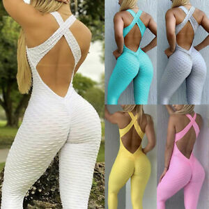 Womens Yoga Jumpsuit Bodysuit Leggings Pants Anti Cellulite Exercise Rompers Gym
