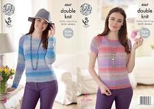 King Cole 4567 Knitting Pattern Womens Raglan Sleeve Sweater King Cole Sprite DK