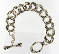"""King Baby Sterling Silver Day of the Dead Bracelet 8"""" long"""