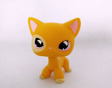 Littlest Pet Shop LPS Short Hair Cat Purple Moon Eyes Gift #855 Yellow Toys