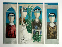 Signed Yosl Bergner Triptych The King rare Lithography from the 70' 50X75 cm