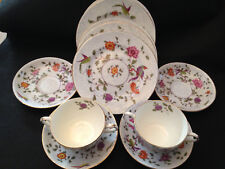 Crown Staffordshire English China Handled Cups Plates & Saucers Parrots 12 Pcs