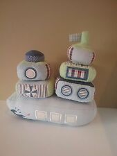 RARE POTTERY BARN KIDS Boat Tug Boat Nautical Stacking Toy bell rattle Baby EUC