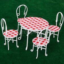 Miniature Fairy Garden Bistro White Table 4 Chairs set Dolls House Miniature