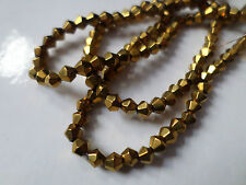 50 x Electroplated Glass Beads - Bicone - 4mm [Gold/Silver Available]