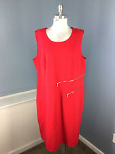 Calvin Klein 22W Red dress Ponte Knite Sheath Stretch Sleeveless Career Cocktail