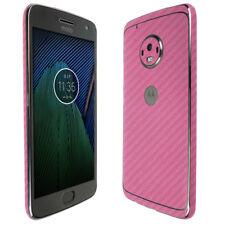 Skinomi TechSkin Pink Carbon Fiber & Screen Protector for Motorola Moto G5 Plus