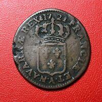#1498 - RARE - Louis XV Demi sol au buste enfantin 1721 A Paris - FACTURE
