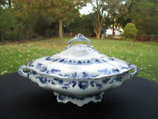 1898 ACANTHA MEAKIN ENGLAND FLOW BLUE PORCELAIN COVERED TUREEN VEGETABLE DISH
