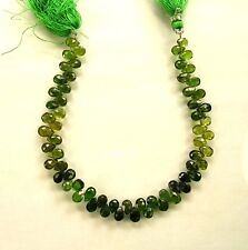 "Shaded chrome green TOURMALINE faceted pear beads AA+ 6-6.5mm 7.5"" strand"